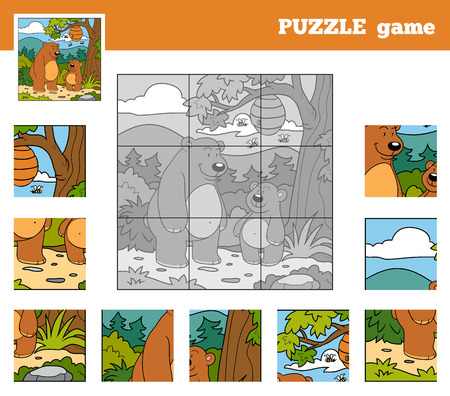 Puzzle Game for children with animals (bears) Vector