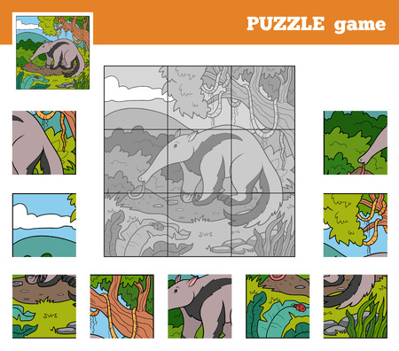 Puzzle Game for children with animals (anteater) Vector