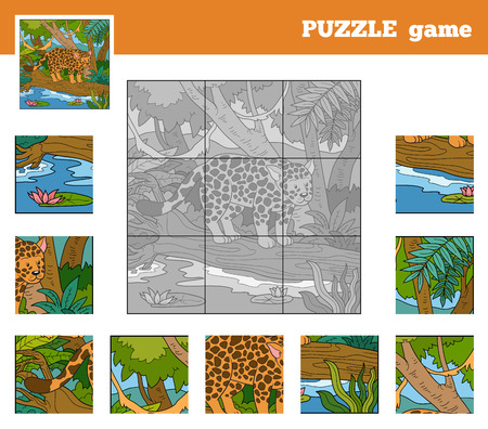 Puzzle Game for children with animals (jaguar) Vector