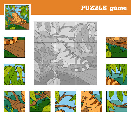Puzzle Game for children with animals (iguana) Vector