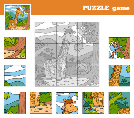 Puzzle Game for children with animals (giraffe) Vector