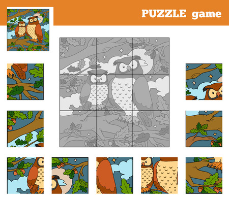 Puzzle Game for children with animals (owl) Vector