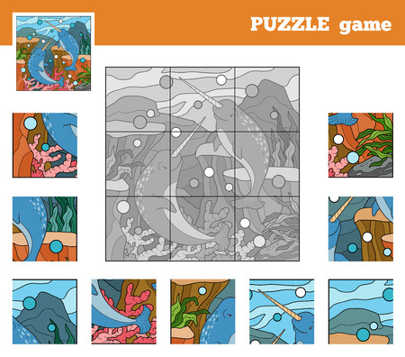 one piece: Puzzle Game for children with animals (narwhals sea world) Illustration