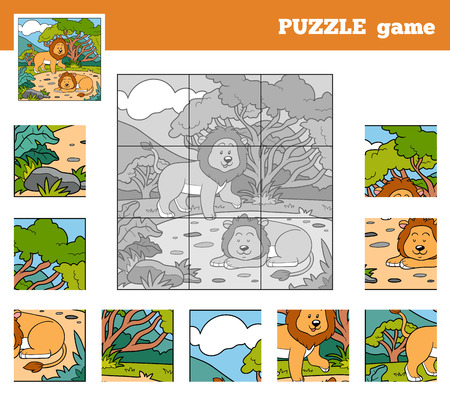 Puzzle Game for children with animals (lions) Vector