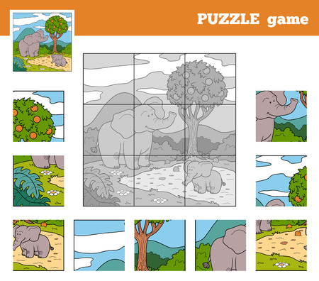 Puzzle Game for children with animals (elephant) Vector