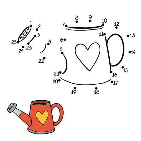 heart intelligence: Game for children: Numbers game (watering can) Illustration