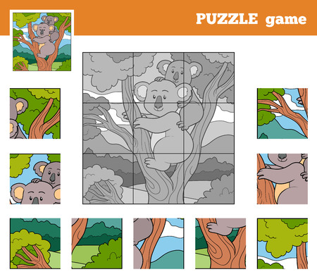 Puzzle Game for children with animals (koala) Vector