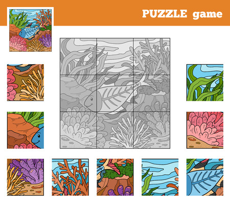 Puzzle Game for children with animals (x-ray fish) Vector