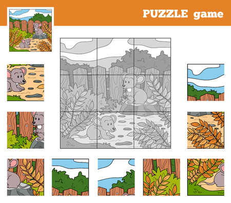 Puzzle Game for children with animals (mice) Illustration