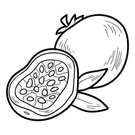 pasion: Libro para colorear para niños: frutas y verduras (fruta de la pasión)
