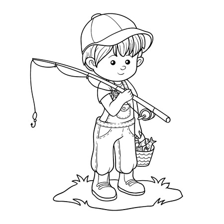 fishman: Coloring book for children (little boy fisher)