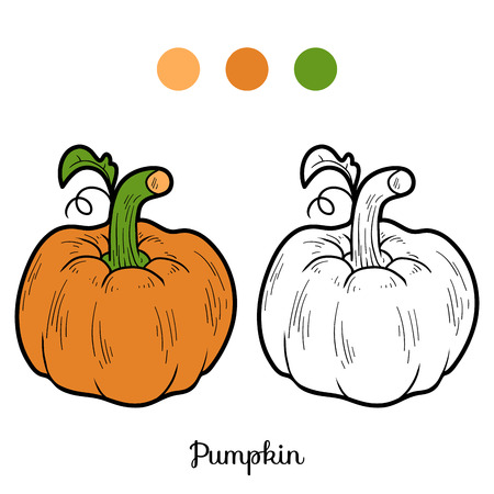 Coloring book for children: fruits and vegetables (pumpkin)