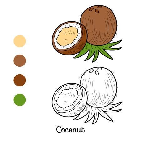frutas divertidas: Libro para colorear para niños: frutas y vegetales (coco)