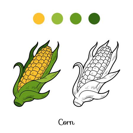 elote caricatura: Libro para colorear para ni�os: frutas y verduras (ma�z)