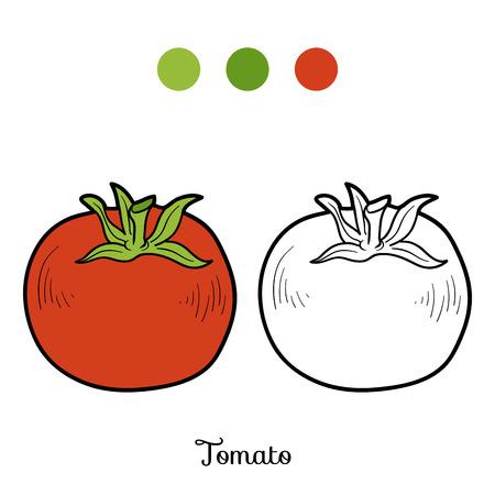 frutas divertidas: Libro para colorear para ni�os: frutas y verduras (tomate)