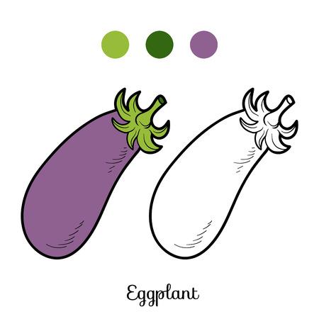 frutas divertidas: Libro para colorear para niños: frutas y verduras (berenjena)