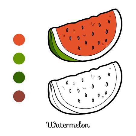 Kleurboek voor kinderen: groenten en fruit (watermeloen) Stock Illustratie