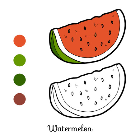 Coloring book for children: fruits and vegetables (watermelon) Vectores