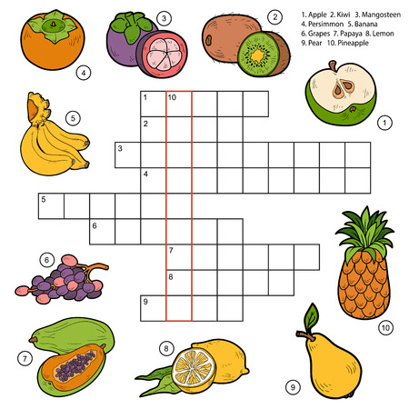 Vector crossword, game for children about fruits (apple, kiwi, mangosteen, persimmon, banana, grapes, papaya, lemon, pear, pineapple)