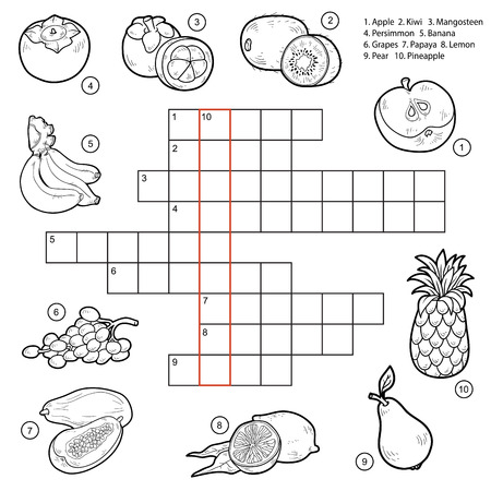Vector crossword, game for children about fruits (apple, kiwi, mangosteen, persimmon, banana, grapes, papaya, lemon, pear, pineapple) Imagens - 41918516