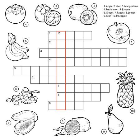 Vector kruiswoordraadsel, spel voor kinderen over fruit (appel, kiwi, mangosteen, kaki, bananen, druiven, papaya, citroen, peer, ananas)