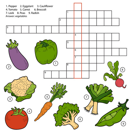 Vector crossword, game for children about vegetables (eggplant, pepper, tomato,carrot, radish, peas, broccoli, tomato, cauliflower, leek)