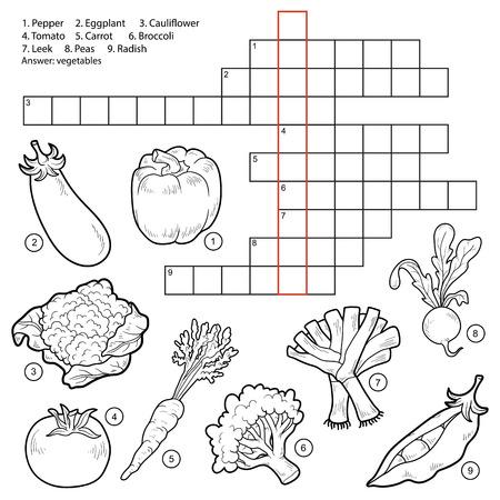 tomate: Vecteur de mots croisés, jeu pour les enfants sur les légumes (aubergine, poivron, tomate, carotte, radis, petits pois, le brocoli, la tomate, le chou-fleur, poireau)