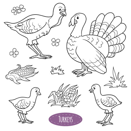 Colorless set of cute farm animals and objects, vector family turkeys