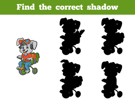 cartoon ear: Game for children: Find the correct shadow (rabbit and bicycle) Illustration