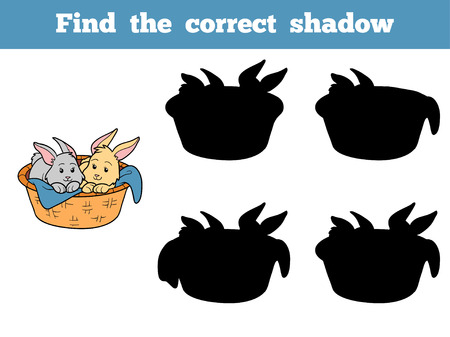 cartoon easter basket: Game for children: Find the correct shadow (rabbits ith basket) Illustration