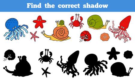 Spel voor kinderen: Zoek de juiste schaduw (zee leven, vissen, octopus, slak, sterren, krab) Stock Illustratie