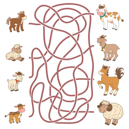 Maze game for children: help the young find their parents (farm animals: horse, sheep, goat, cow)
