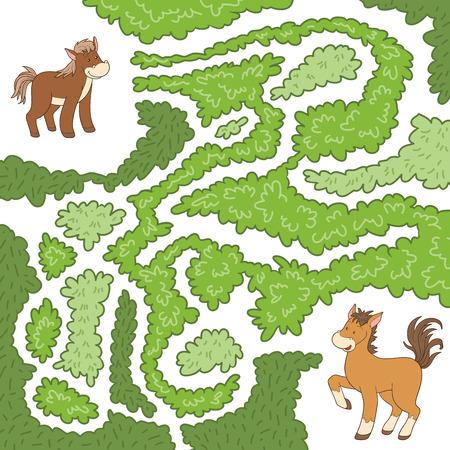 the maze: Laberinto juego para los ni�os: ayudar al peque�o caballo para encontrar la manera de mi madre