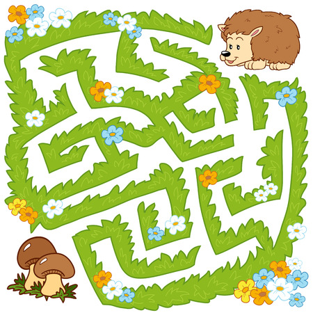 Maze game for children: Help hedgehog to find a way to mushrooms