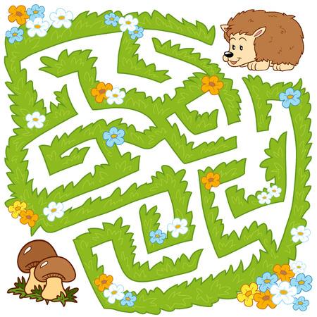 confundido: Laberinto juego para los niños: Ayuda erizo para encontrar una manera de setas