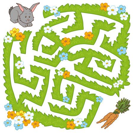 gibier: Maze jeu pour les enfants: aide lapin rendre à la carotte Illustration