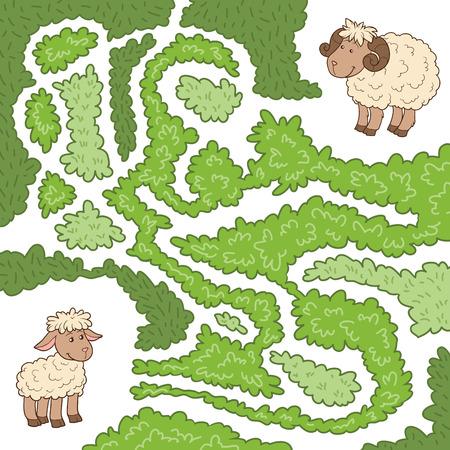 pecora: Maze gioco per i bambini: aiutare le pecore per trovare l'agnellino Vettoriali