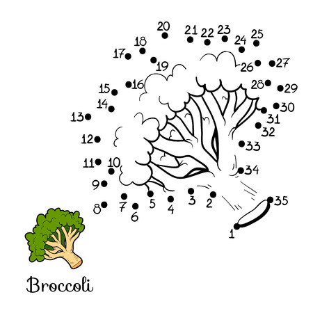 Numbers game for children: fruits and vegetables (broccoli) Çizim