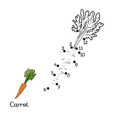 Nummers spel voor kinderen: groenten en fruit (wortel)