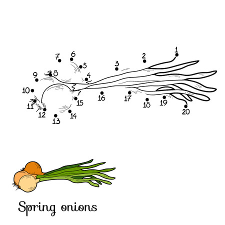 onions: Numbers game for children: fruits and vegetables (spring onions)