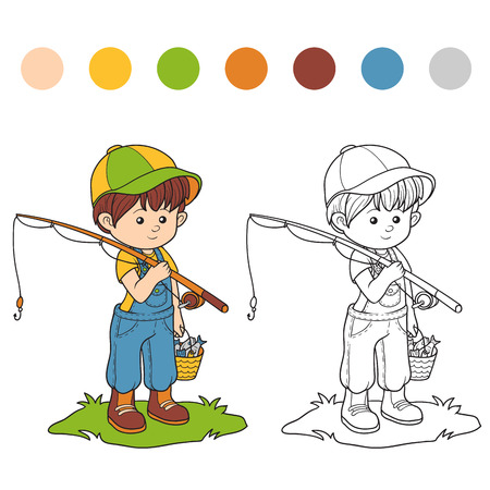 fisher: Coloring book for children (little boy fisher)