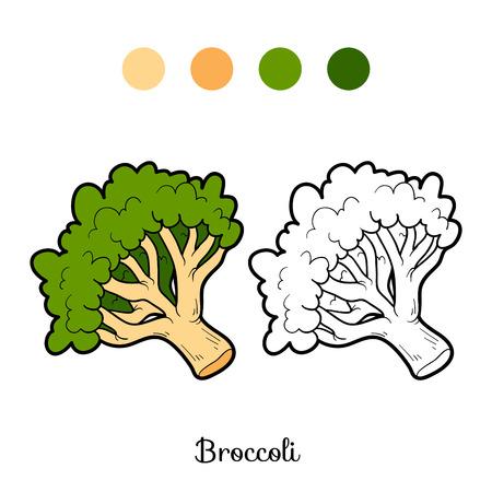 fruit stem: Coloring book for children: fruits and vegetables (broccoli) Illustration