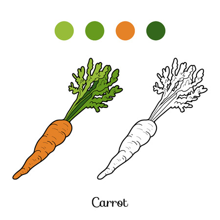 Coloring book for children: fruits and vegetables (carrot)