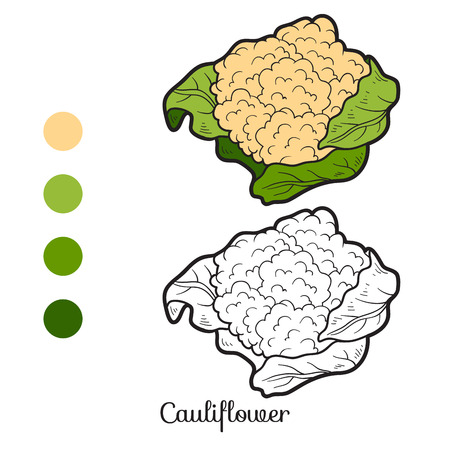 Coloring book for children: fruits and vegetables (cauliflower) Ilustração