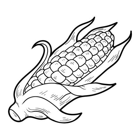 mazorca de maiz: Libro para colorear para niños: frutas y verduras (maíz)