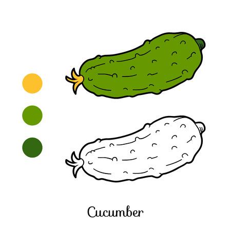 pepino caricatura: Libro para colorear para niños: frutas y hortalizas (pepino) Vectores