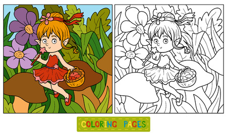 pixy: Coloring book for children (little fairy with a basket of fruit)