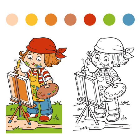 painter cartoon: Coloring book for children (Girl artist draws on nature, open air) Illustration