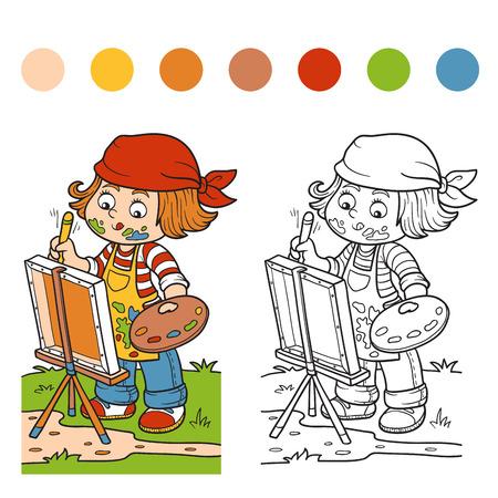 pintor: Libro para colorear para los ni�os (artista Chica se basa en la naturaleza, al aire libre) Vectores