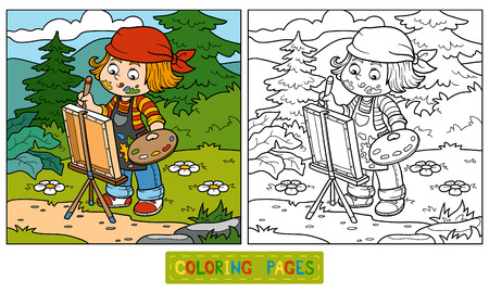 color pages: Coloring book for children (Girl artist draws on nature, open air) Illustration
